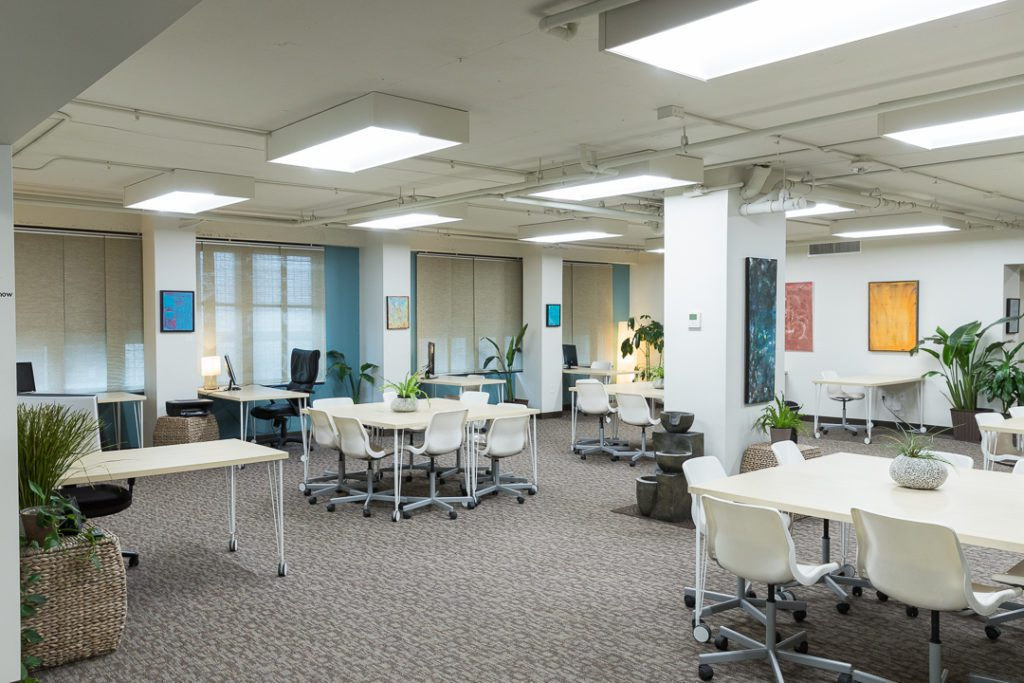 Large shared workspace in DC with art and water features