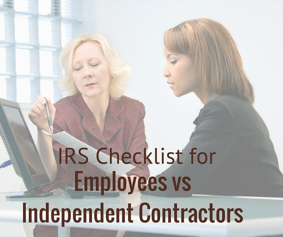 employee vs independent contractor Independent contractors irs 20-factor test worker is an employee or an independent contractor no one factor on the test is more indicative.