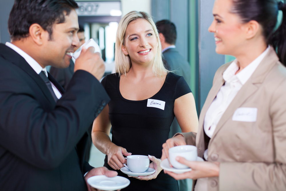 introverts having coffee during networking event